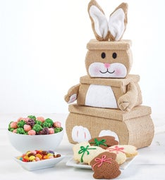 Towers gift towers of delicious treats the popcorn factory burlap bunny 3 tier tower negle Choice Image