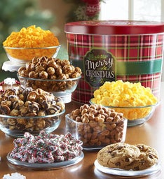 Merry Christmas and Happy Holidays Plaid Grand Snack Assortment