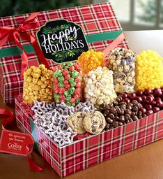 Happy Holidays Plaid Ultimate Snack Gift Box