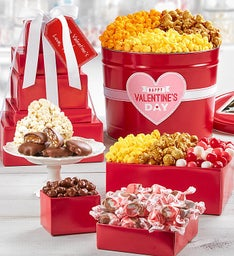 Simply Red Happy Valentine's Day 5-Tier Tower and Popcorn Tin