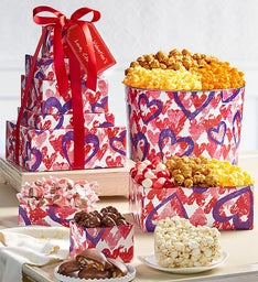 Forever Hearts 5-Tier Tower and Popcorn Tin
