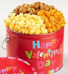 1/2 Gallon Happy Valentine's Day 3 Flavor Popcorn Pail