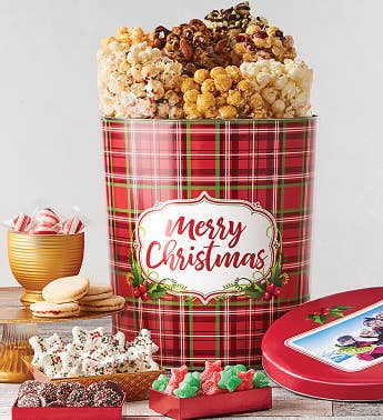 3 12 Gallon Holly Plaid Merry Christmas Premium Snack Assortment