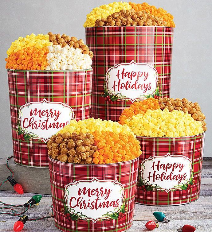 holly plaid merry christmas popcorn tins