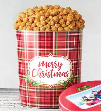 3 12 Gallon Holly Plaid Merry Christmas Pick a Flavor Popcorn Tins
