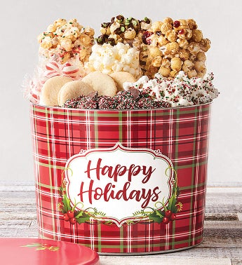 Holly Plaid Happy Holidays Grand Snack Assortment