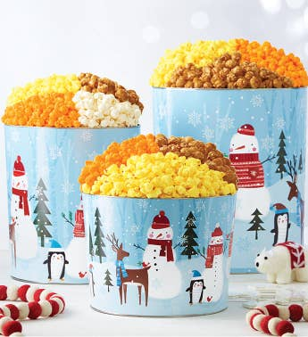 Snow Day Popcorn Tins