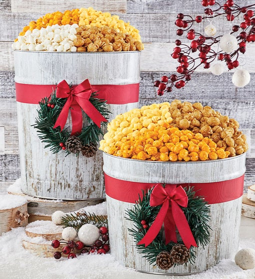 Winter Woods Wreath Ornament Popcorn Tins