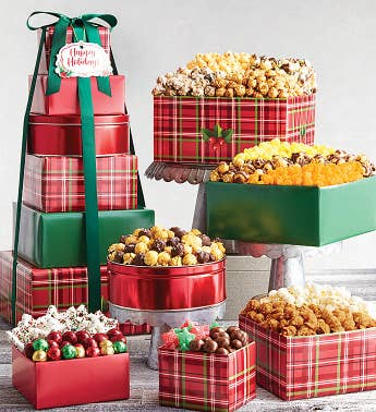 6-Tier Holly Plaid Happy Holidays Tower
