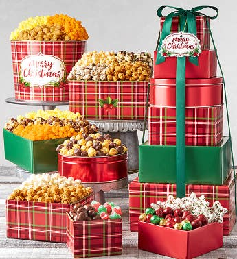 6-Tier Holly Plaid Merry Christmas Tower  Tin