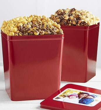 Set Of 2 Popcorn Tins Caramel Trio & Nutty Trio Popcorn