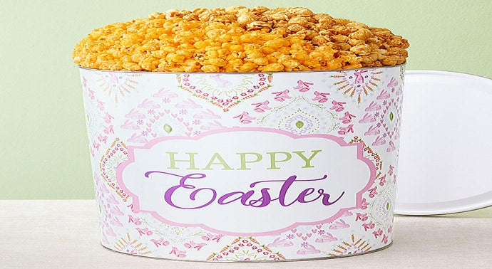 Happy Easter 6 12 Gallon Pick a Flavor Popcorn Tins