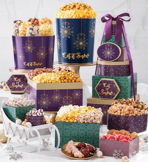 Let It Snow 8-Tier Gift Tower with 2-Gallon & 3 1/2-Gallon Popcorn Tins