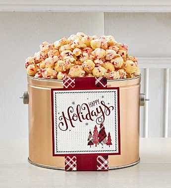 Cozy Plaid Happy Holidays 1/2 Gallon Holiday Pail Peppermint Kettle Corn
