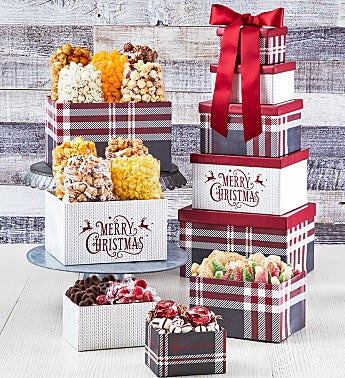 Cozy Plaid Merry Christmas 5-Box Gift Tower