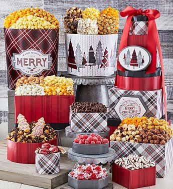 Cozy Plaid Merry Christmas 8 Box Gift Tower & 2 Popcorn Tins