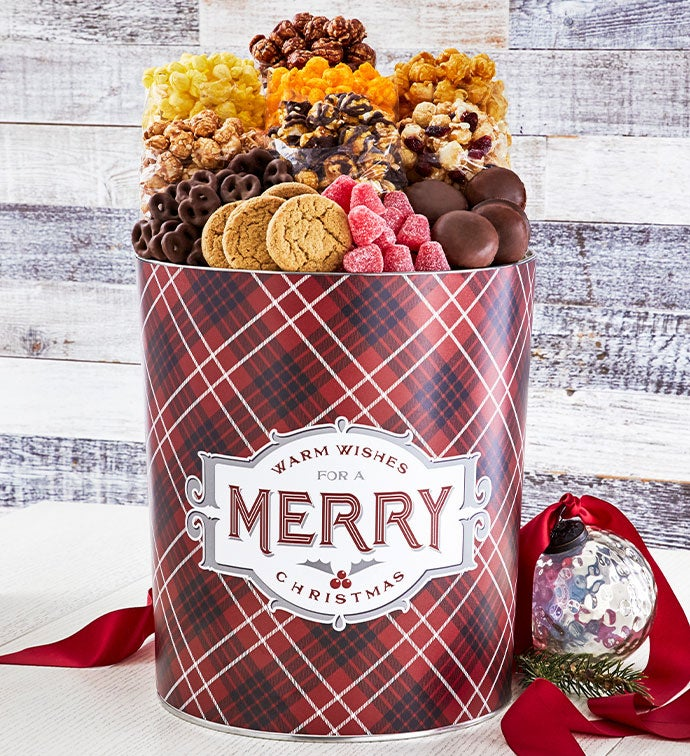 Cozy Plaid Merry Christmas 3.5 Gallon Premium Gift Tin