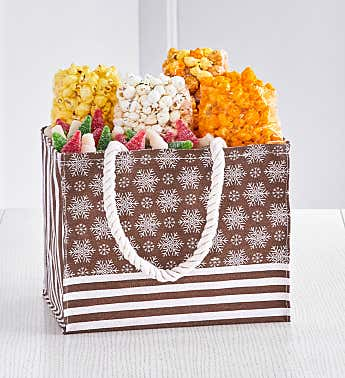 Gold Snowflake Holiday Gift Tote