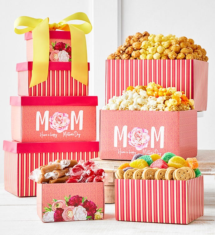 Blooms For Mom 4-Box Gift Tower