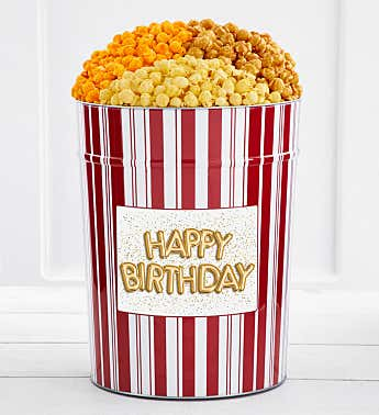 Tins With Pop® 4 Gallon Happy Birthday Gold Balloons