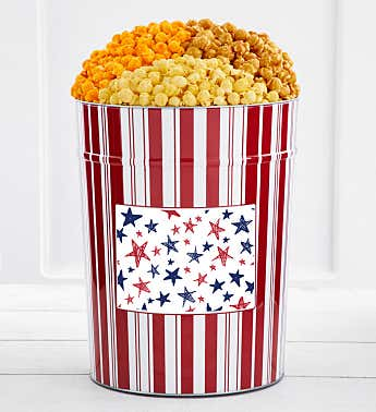 Tins With Pop® 4 Gallon Red & Blue Stars