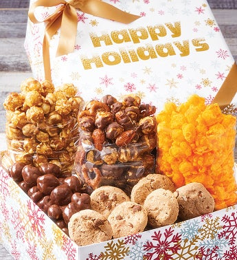 Sparkling Snowflakes Happy Holidays Petite Snack Box