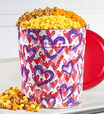 6 1/2 Gallon 3-Flavor Forever Hearts Popcorn Tins