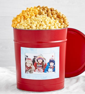 Simply Red Popcorn Tins with Winter Magnet Photo Frame