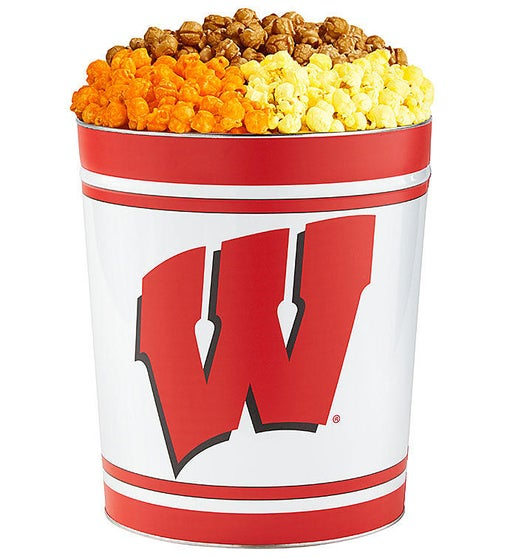 3 Gallon University of Wisconsin 3 Flavor Popcorn Tins