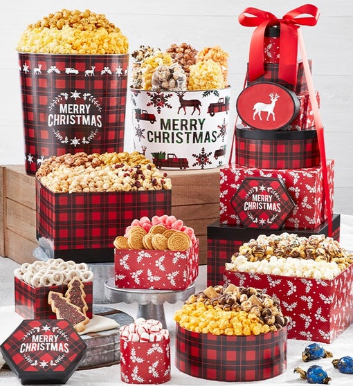 Very Merry Plaid 8-Tier Gift Tower with 2-Gallon & 3 1/2-Gallon Popcorn Tins