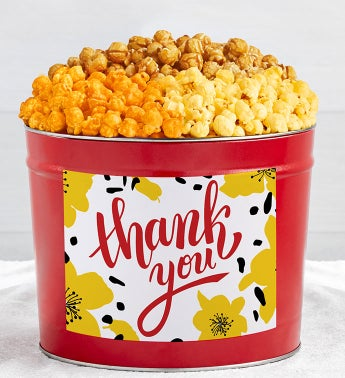 Tins With Pop Thank You Flowers
